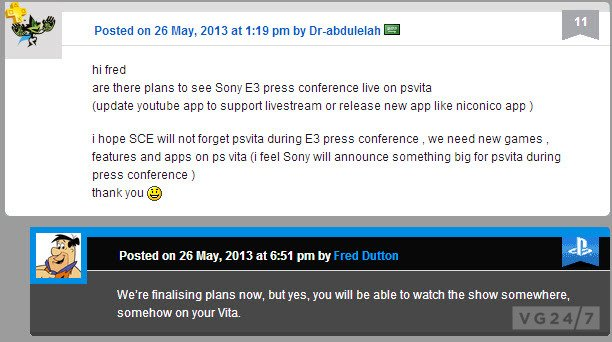 SONY проведет трансляцию для пользователей PS Vita - Изображение 1